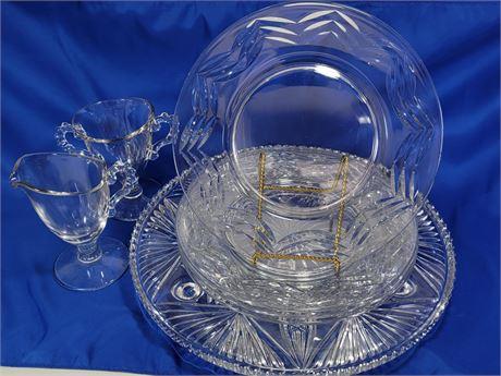 Clear Glass Lot - Plates - Platter - Cream & Sugar