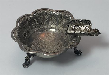 Antique Brazilian Fine Silver Cigarette Tray / Mini Dish made from 1853 Coin
