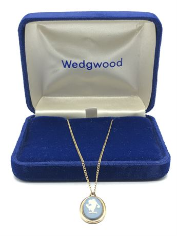 Wedgwood Cameo Charm Pendant Necklace in Original Box