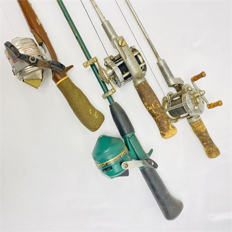 Lot of 4 Vintage Fishing Poles Including Two w/ Pflueger Casting Reels