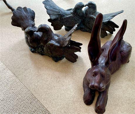 Maitland Smith Cast Metal Rabbit and Pair of Bronze Bird Bookends