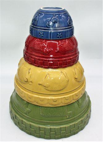 4pc Mixing bowl set Animals pottery