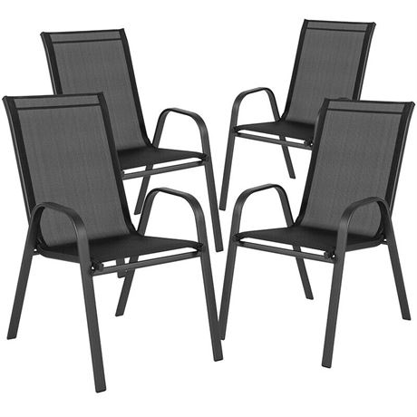 Pair of KD Full Bucket Sling Chairs - Black - To be assembled - 2 CHAIRS ONLY