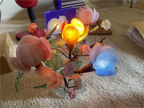 Lighted Glass bouquet Vintage flowers
