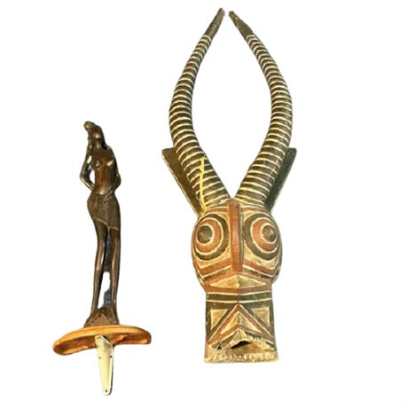 African Cote d'Ivoire Carved Antelope Mask and Carved Female Figure