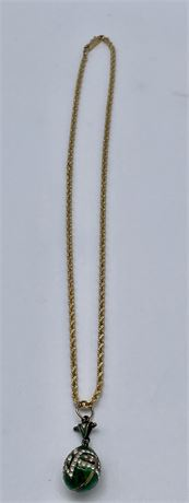 14K Yellow Gold Rope Chain and Faberge Style Egg Pendant