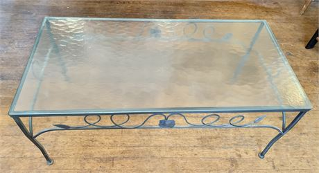 Midcentury Wrought Iron Coffee Table-Tempered Glass