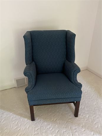 Georgian Style Blue Cloth Wing Back Chair