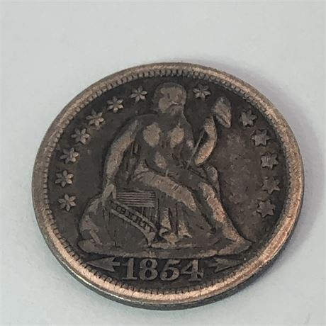 1854 Seated Dime Coin