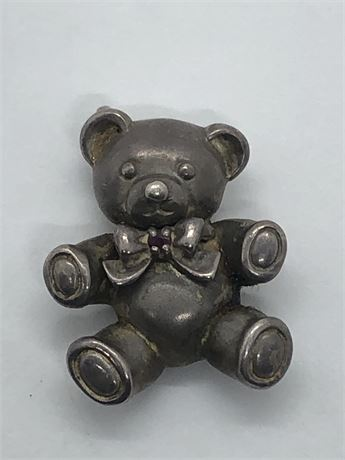 Sterling Silver Ruby Teddy Bear Charm Pendant