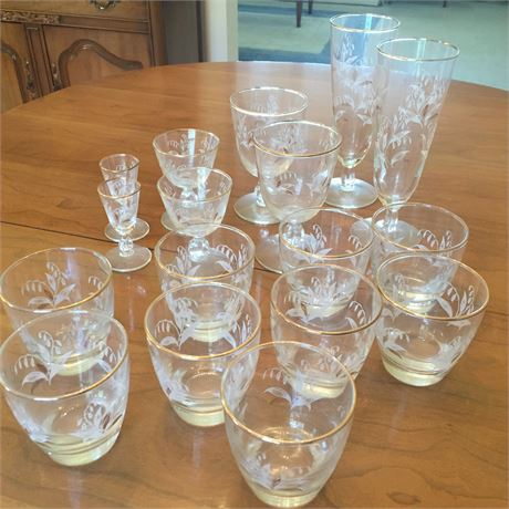Vintage Set of Gold & Etched Glassware