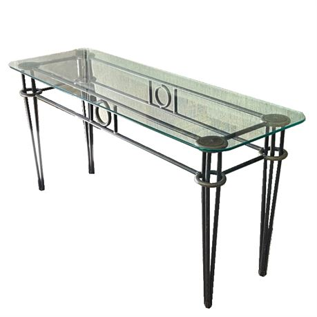 Iron Console Table with Glass top