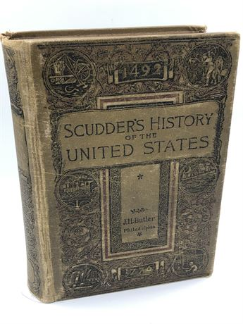 1884 Horace Scudder's History of the United States Maps illustrated History Book