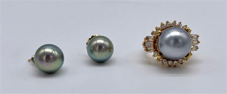 Gray Faux Pearl Ring and Earrings