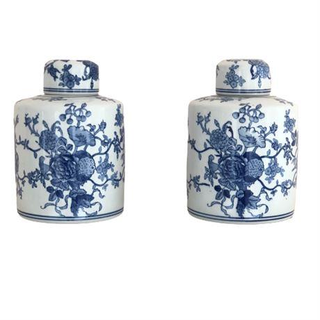Asian Inspired Decorative Lidded Urns