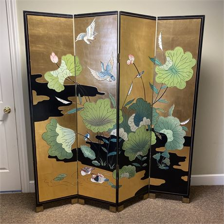 Vintage Chinoiserie Asian hand painted gold leaf and black lacquer room divider