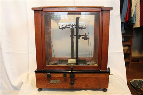 Antique Glass Cased Apothecary Balance Scales By Fisher Scientific Co.