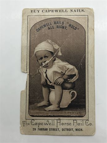 Antique Baby with Cap on Commode Phot Ad for Capewell Horse Nails