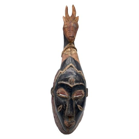 African Cote d'Ivoire Carved Portrait Mask with Animal Figure