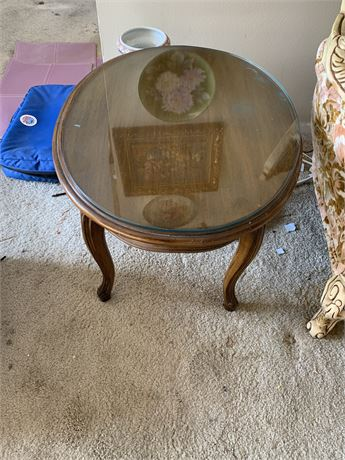 French provincial oval side table