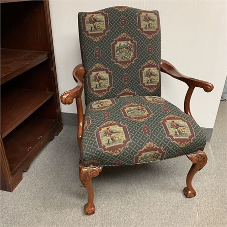 Corner chair upholstered with Outdoorsman scenery
