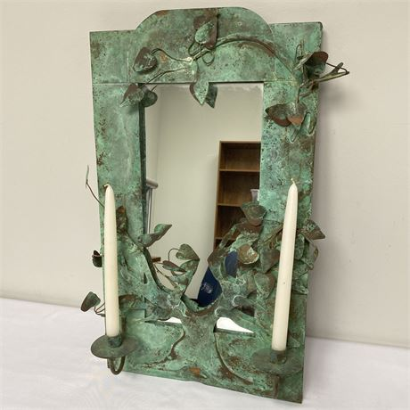 Vintage Copper framed mirror with candle holders