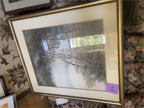 Seven Birches Large double matted framed print