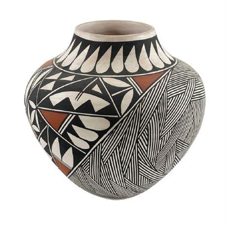Tsa Garcia Salvador Acoma Polychrome Olla Jar Vase
