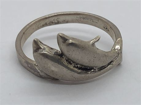 Sterling Silver Dolphin Ring Size 6